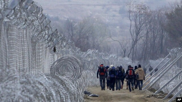 Refugees and migrants, who entered Macedonia from Greece illegally, walk between the two lines of the protective fence along the border line, near southern Macedonia's town of Gevgelija, Feb. 29, 2016.