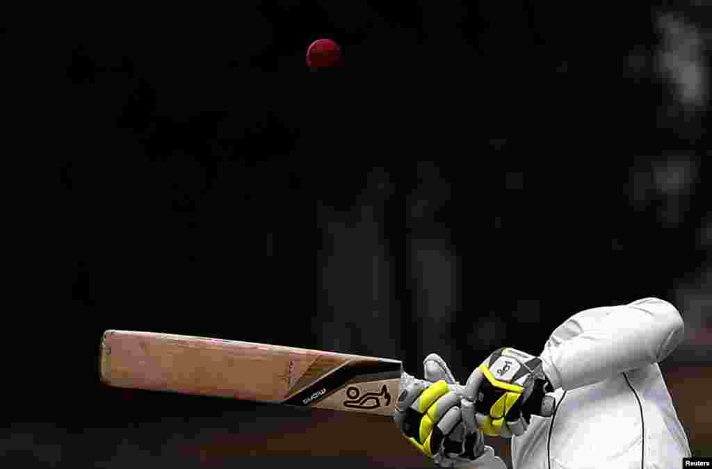 New Zealand's Bruce Martin avoids a bouncer bowled by England's Stuart Broad during the fourth day of the first test at the University Oval in Dunedin, New Zealand.