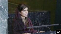ທ່ານນາງ Hina Rabbani Khar ລັດຖະມົນຕີຕ່າງປະເທດປາກິສຖານ ກ່າວຄໍາປາໄສຕໍ່ສະມັດຊາໃຫຍ່ ສະຫະປະຊາຊາດ. ວັນທີ 28 ກັນຍາ 2011.