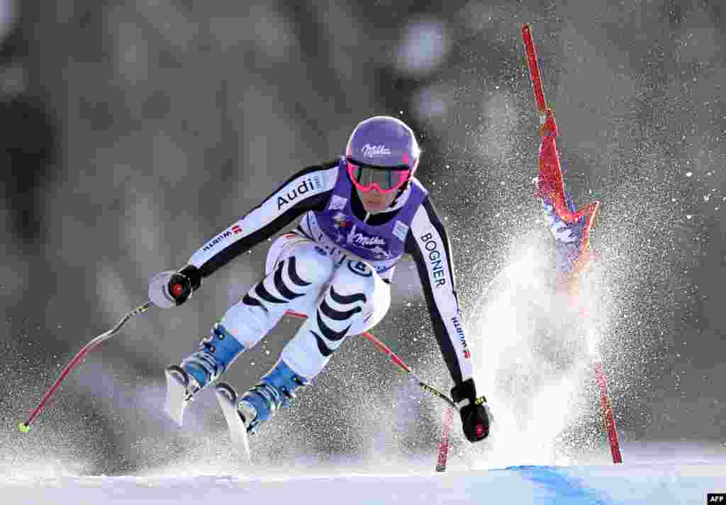 German's Maria Hoefl-Riesch practices during the first training session for the FIS Alpine World Cup Women's Downhill in Val d'Isere, French Alps.
