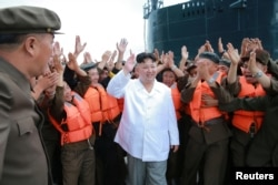 FILE - North Korean leader Kim Jong Un is pictured during a test-fire of strategic submarine-launched ballistic missile in this undated photo released by North Korea's Korean Central News Agency (KCNA) in Pyongyang, Aug. 25, 2016.