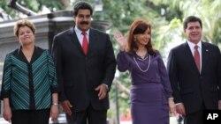 Los presidentes de Brasil, Venezuela, Argentina y Paraguay el 29 de julio en Caracas durante la cumbre de Mercosur.