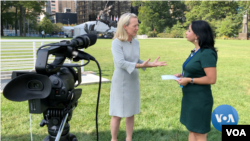 Assistant Secretary Alice Wells talking to Navbahor Imamova, VOA, New York, September 23, 2019