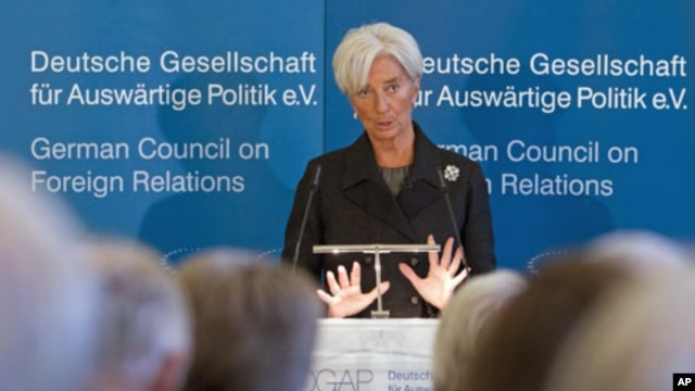 The head of the International Monetary Fund, Christine Lagarde, delivers a speech at the German Council on Foreign Relations in Berlin, January 23, 2012.