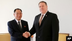 Kim Yong Chol, left, former North Korean military intelligence chief and one of leader Kim Jong Un's closest aides, shakes hands with U.S. Secretary of State Mike Pompeo during a meeting, May 31, 2018, in New York.