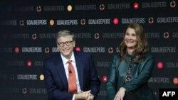 Bill Gates et son épouse Melinda Gates présentent l'événement Gardiens de but au Lincoln Center à New York, le 26 septembre 2018.