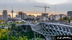 نمایی از پل طبیعت در تهران.