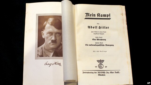 "A copy of Adolf Hitler's ""Mein Kampf"" from 1940 is pictured in Berlin, Dec. 16, 2015."