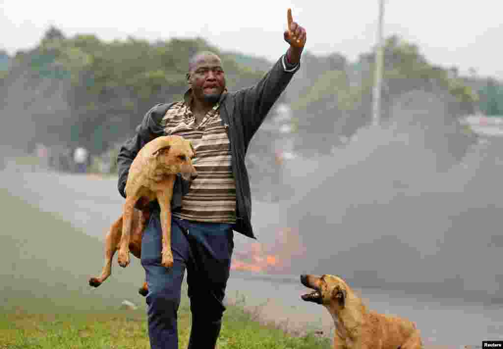A protester gestures as he holds a dog before a burning barricade during protests in Harare, Zimbabwe.