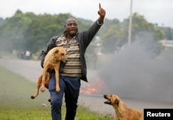 A protester gestures as he holds a dog before a burning barricade during protests in Harare, Zimbabwe, January 15, 2019.