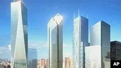 新的世贸中心设计图,一些建筑尚未动工