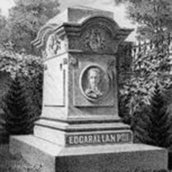 Litho­graph of Edgar Allan Poe's Mem­orial Grave in Balt­imore, Mary­land.