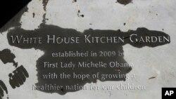 La familia Obama devela una placa en la que indican cuándo seestableció el jardín donde se cosechan vegetales orgánicos.