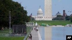 El Monumento a Washington y el edificio del Capitolio de EE.UU. al fondo, vistos el 27 de agosto de 2020.