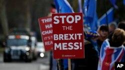 Manifestantes pro-europeos protestaron frente al parlamento en Londres, el viernes 11 de enero de 2019. La primera ministra británica, Theresa May, está luchando para obtener apoyo para su acuerdo Brexit en el Parlamento.