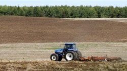 A farmer tilling a field near Hastings, Minnesota, in April