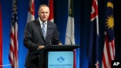 El primer ministro de Nueva Zelanda, John Key, habló a los delegados en la firma del acuerdo TPP, en Auckland, el jueves, 4 de febrero de 2016.
