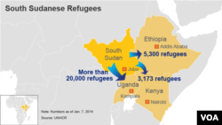 Map showing the number of South Sudanese Refugees in Uganda, Ethiopia, and Kenya