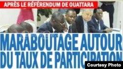 La Une du journal ivoirien Le Quotidien, en Côte d'Ivoire, le 2 novembre 2016.