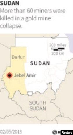 29일 금광 사고가 발생한 북부 수단 다르푸르의 제벨 아미르 지역.