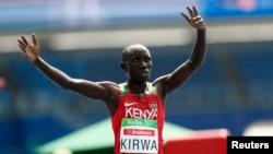 Le Kéyan Henry Kirwa a gagné la course homme 5 000 mètres à Rio de Janeiro, Brésil, le 15 septembre 2016.