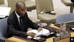 Youssoufou Bamba, U.N. Ivory Coast Ambassador speaking at Security Council, July 26, 2012 (U.N. photo)