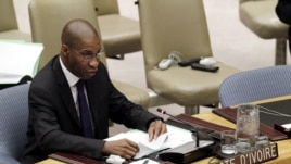 Youssoufou Bamba, UN Ivory Coast Ambassador speaking at Security Council, Jul 26, 2012 (UN photo)