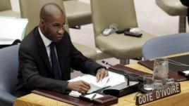 Youssoufou Bamba, U.N. Ivory Coast Ambassador speaking at Security Council, July 26, 2012 (U.N. photo)