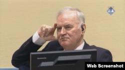Ratko Mladić u sudnici Tribunala u Hagu prilikom izricanja prvostepene presude kojom je osuđen na doživotni zavor, 22. novembar 2017.