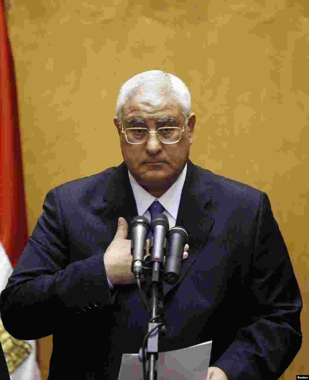 Adly Mansour gestures at his swearing in ceremony as the nation's interim president in Cairo, July 4, 2013.