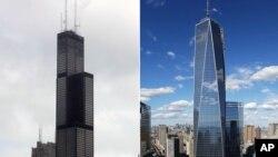 左圖為芝加哥的西爾斯大廈,右圖為世貿中心一號樓。(資料照片)大廈,右圖為世貿中心一號樓。