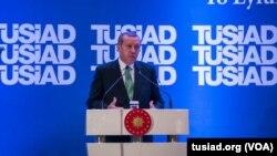 Erdoğan cumhubaşkanı seçildikten sonra 18 Eylül'de TÜSİAD Genel Kurulu'nda konuşurken