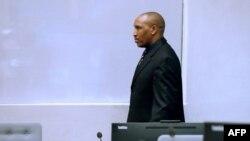 L'ancien chef de guerre congolais, Bosco Ntaganda, au tribunal de la CPI lors des déclarations finales de son procès à La Haye, aux Pays-Bas, le 28 août 2018.