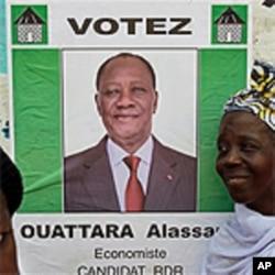 Poster of Ivory Coast opposition leader Alassane Ouattara, 25 Nov 2010.
