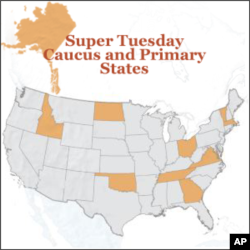 U.S. states participating in Super Tuesday primaries include Vermont , Virginia, Oklahoma, Tennessee, Ohio, Oklahoma, North Dakota, Alaska, Massachusetts, Georgia and Idaho