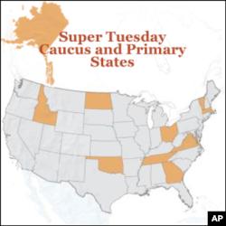 U.S. states participating in Super Tuesday primaries include Vermont , Virginia, Oklahoma, Tennessee, Ohio, Oklahoma, North Dakota, Alaska, Massachusetts, Georgia and Idaho