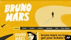 Bruno Mars official site: screenshot