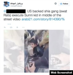 """A Twitter post claiming the boy was killed by """"a US backed shia gang."""""""
