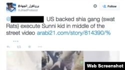 "A Twitter post claiming the boy was killed by ""a US- backed Shia gang."""