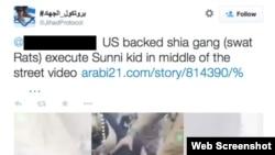 Sebuah tweet oleh akun yang diduga milik pendukung ISIS.