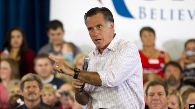Republican presidential candidate, former Massachusetts Gov. Mitt Romney speaks at Central High School, July 10, 2012, in Grand Junction, Colorado.