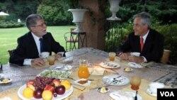 Como canciller Amorím se reunió con varios mandatarios, como es el caso de Sebastián Piñera, tras ser electo.