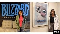 Animator Rini Sugianto (kiri) dan Effects Artist Yorie Kumalasari (kanan) (Dok: Rini Sugianto dan VOA)