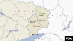 Donetsk and Luhanskın xəritəsi