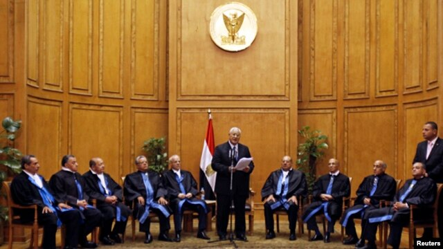 Adly Mansour (C), Egypt's chief justice and head of the Supreme Constitutional Court, speaks at his swearing in ceremony as the nation's interim president in Cairo July 4, 2013.