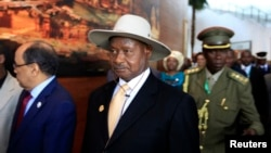 FILE - Uganda's President Yoweri Museveni arrives for the opening ceremony of the 22nd Ordinary Session of the African Union summit in Ethiopia's capital Addis Ababa.