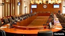 Salón Simón Bolivar de la OEA, donde se reunirá este lunes el Consejo Permanente para tratar la situación fronteriza entre Colombia y Venezuela.