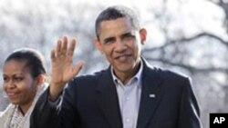 휴가를 마치고 돌아오는 오바마 대통령
