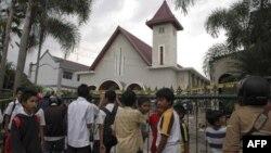 印尼中爪哇基督教堂受襲及被放火。(2011年2月8日資料照片)