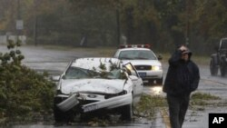 A car crushed by a fallen tree sits along Montauk Highway as Hurricane Sandy approaches, Monday, Oct. 29, 2012, in Bay Shore, N.Y. Hurricane Sandy continued on its path Monday, forcing the shutdown of mass transit, schools and financial markets, sending